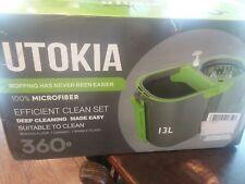Stainless Steel Deluxe Rolling Microfiber Spin Mop & Bucket Floor Cleaning...
