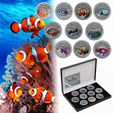 WR 10pcs Marine Animals Fish Silver Challenge Coin Sea's Amazing Wildlife In Box