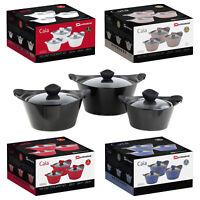 Aluminium Stockpot Casserole Cooking Pan Silicon Grip Set 3 Pcs 1.8L, 3.5L, 5.9L