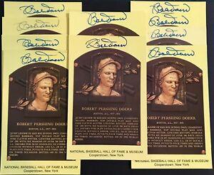 Bob Doerr Signed Gold HOF Plaque Postcard Yellow Boston Red Sox Autograph JSA
