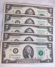 """RARE ??? TWO 2 DOLLAR """"L"""" BILLS (5) IN SERIAL # ORDER-UNCIRCULATED-A GREAT GIFT"""