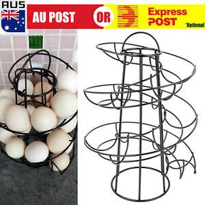 Spiral Kitchen Egg Storage Helter Skelter Egg Holder Stand Rack Holds 18 Eggs