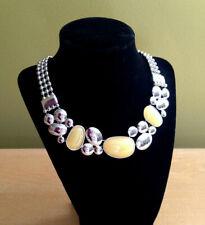 """NIB Lia Sophia Gorgeous Chunky Yellow Cloud Burst Silver 16-19"""" Necklace $138"""