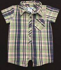 Boy's One Piece 0/3 Months Blue Green Plaid Beverly Hills Polo Club Baby C39
