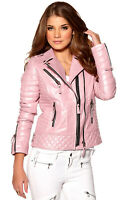 Women's Leather Jacket Motorcycle Bomber Biker Genuine Lambskin Pink