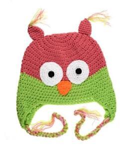 NWT Owl Baby Girls Hot Pink & Green Chrochet Hat 6-12 Months
