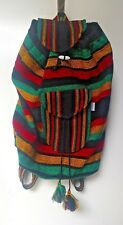 Mexican Backpack Rasta colors Green, Black & Yellow Striped southwest XL