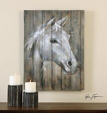 """LARGE 32"""" HORSE HEAD PAINTED ON RUSTIC WOOD STRIPS WESTERN WALL ART PAINTING"""
