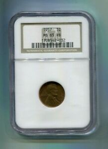 1957 US Lincoln Wheat Cent NGC - MS65 RB