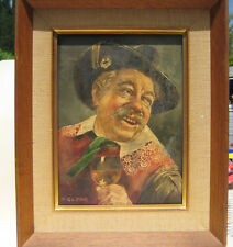 """Tyrolean Peasant By Hans Gruber,An Nice Original Oil Painting 11.5""""Lx 9.5""""W,Rare"""