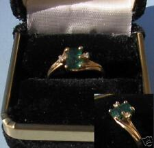14K Solid Gold Ring 1c Colombian Emerald w/2 diamonds sz 5 1/2 Beautiful Gem New