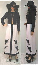 VTG 60'S-70'S RARE CUSTOM BLACK & WHITE BOHO HIPPIE COLOR BLOCK MOD MAXI DRESS