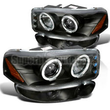 For 2001-2006 Yukon Denali Projector Headlights+Bumper Lamps Black Replacement