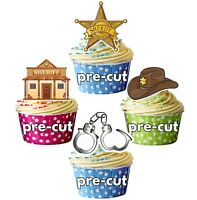 Sheriff Themed Precut Edible Cupcake Toppers Cake Decorations
