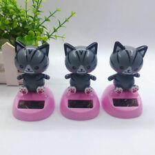 Cute Solar Powered Cartoon Cat Swing Toy Car Dashboard Ornament Home Decor Fun