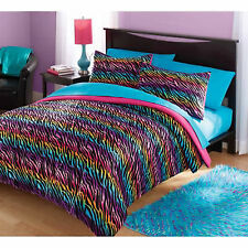 Bedding Set Full / Queen Comforter & Sham Bed In a Bag Rainbow Zebra Reversible