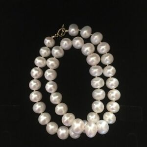 Huge natural freshwater 11-12mm elegant pearl necklace 45cm length AAA Lustre