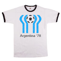 Argentina 78 classic football world cup mens ringer t-shirt retro unofficial NEW
