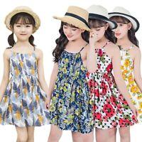 Toddler Kids Baby Girls Sleeveless Sunflower Print Floral Princess Gallus  Dress