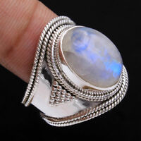 Vintage 925 Silver Natural Rainbow Moonstone Oval Cut Beads Wedding Rings !!