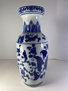 """Fine Chinese Floral Blue & White Porcelain Vase 12"""" x 5.25"""" Flawless Used"""