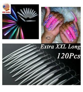 XXL Extra Long Stiletto False Nail Tips Half Cover Nails Fake Tip Salon Manicure
