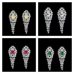 Luxury Sparkling Bright Cubic Zircon Long Drop Fashion Statement Women Earrings