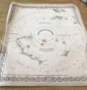 ANTIQUE MAP SOUTHERN REGIONS SOUTH POLE ANTARCTICA  EXPLORER'S ROUTE 1869 COLTON