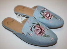 REPORT Embroidered Floral Denim Slip On Mules Slide Women Blue Pink Loafer Sz 6