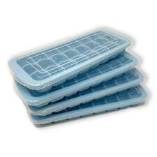 4x Silikon Eiswürfelform mit Deckel Eiswürfel Quadrat Eis Würfel Pastellblau
