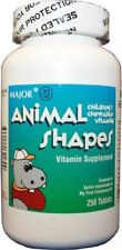 Major Animal Shapes Children's Chewable Vitamins Assorted Colors 250 count
