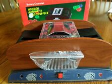 Wooden Two Deck Automatic Card Shuffler Battery Operated - New