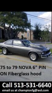 1975-1979 Chevy Nova Extended Fiberglass Pin on Hoods Hood