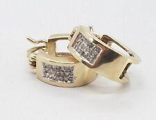 Modern Beautiful 10k Yellow Gold Diamond Hoop Earrings