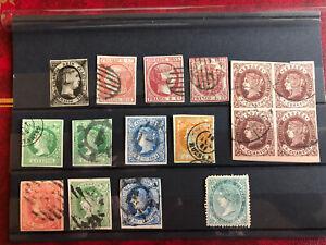 Spanien Königin Isabella II. Lot an gestempelten 1x ungebraucht Briefmarken .