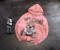 New-Moschino19-Pink cardboard bear hoodie sweatshirt