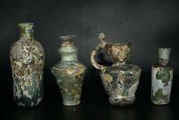 Lot Sale 4 Authentic Ancient Roman Glass Jugs Bottles Vessels Multi Size Rare
