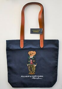 New POLO RALPH LAUREN Multi-Colored Embroidered POLO BEAR SHOPPER TOTE Book Bag