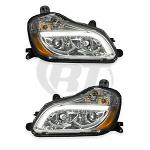 Headlights Headlamps for 13-19 Kenworth T-680 (Chrome) Left Right Pair Set