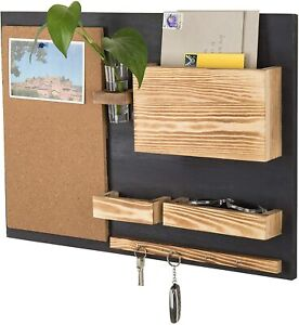 MyGift Wall-Mounted Organizer with Cork Bulletin Board, Mail Holder, Key Hooks,
