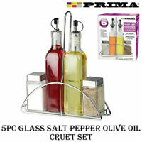 NEW 5PC GLASS CRUET SET SALT PEPPER OIL VINEGAR STAND CONDIMENT KITCHEN SERVING