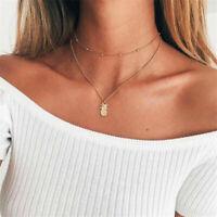 Women's Gold Pineapple Pendant Choker Necklace Multi Layer Fashion Jewelry Charm
