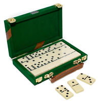 Dominoes Complete Set Uria Stone The Cambor With Brass Spinners Velour Case