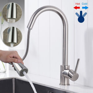 Modern Kitchen Sink Mixer Taps Pull Out Single Lever Chrome Brass Spray Mono Tap