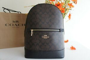 NWT Coach C5679 Kenley Backpack Signature Canvas & Leather Brown Black $398