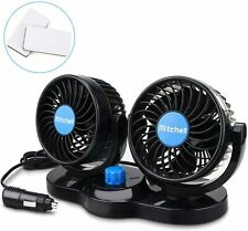 Jhua 12V Electric Car Fan 360 Degree Rotatable 2 Speed 4in Dual Head Car Auto -