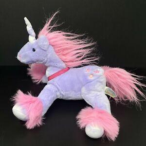 "Animal Alley Unicorn Plush Purple w/Pink Stars Mane Stuffed 12"" Toys R Us Lovey"