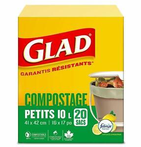 Glad Kitchen Compost Bags -2.6 Gallon, Green Trash Bag,20 counts/pack (2 packs)