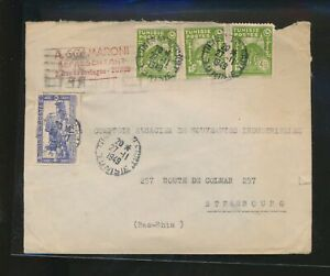 LM85638 Tunisia 1949 to Strasbourg good cover used