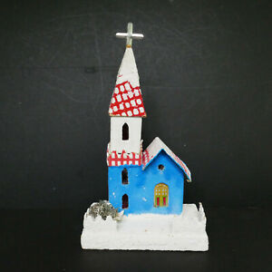 Putz House Church Mica Metal Cross Blue Red White Japan Hand Made Vintage